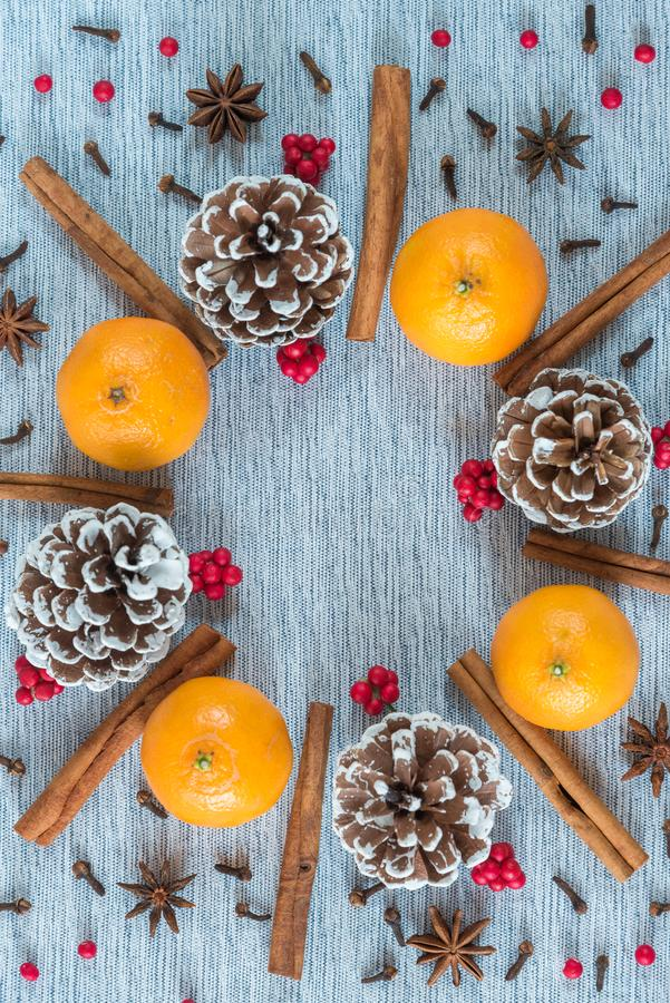 Arranjo da grinalda do Natal de cones, de laranjas, e de especiarias do pinho imagens de stock