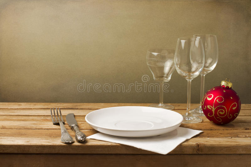 Arranjo da tabela do Natal foto de stock