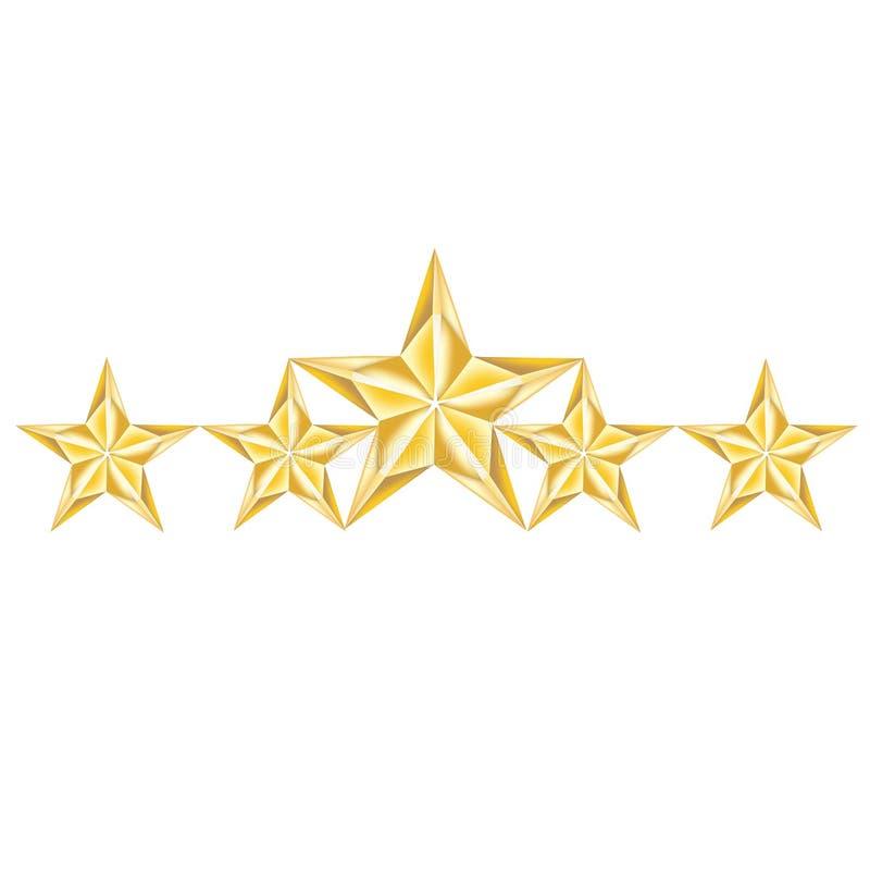 Arranjo de cinco estrelas dourado isolado no branco ilustração stock