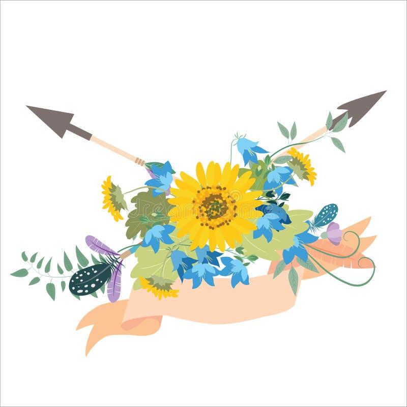 Arranjo de flor com as setas do kolokolchiklm dos girassóis ilustração do vetor