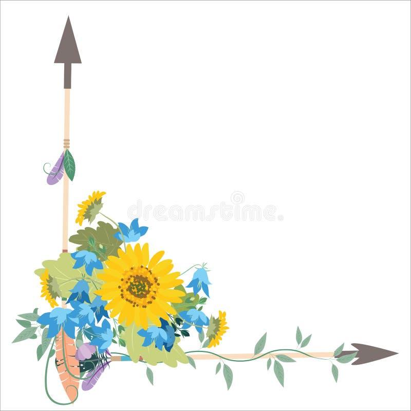 Arranjo de flor com as setas do kolokolchiklm dos girassóis ilustração royalty free