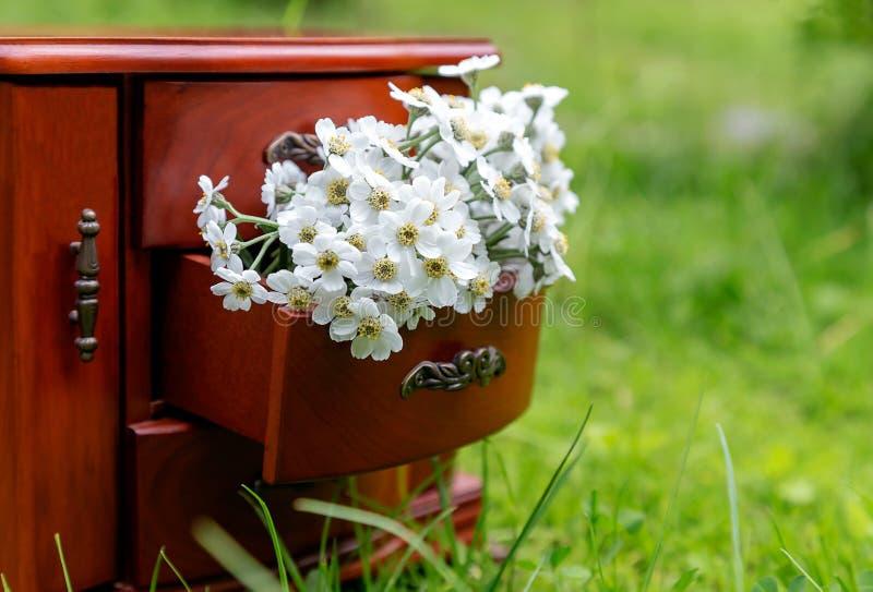 Arranjo de flor do verão em um fundo verde com o ramalhete de flores do jardim em uma caixa de gavetas decorativa fotos de stock