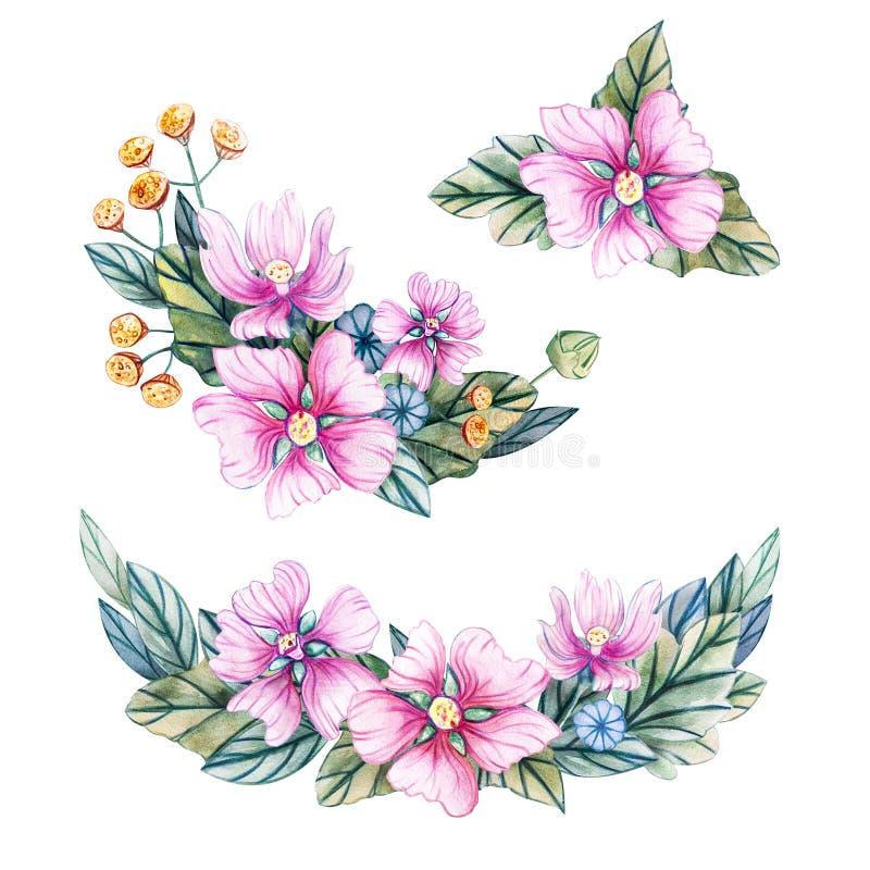 Arranjo de flores cor-de-rosa com folhas Aquarela desenhado à mão ilustração do vetor