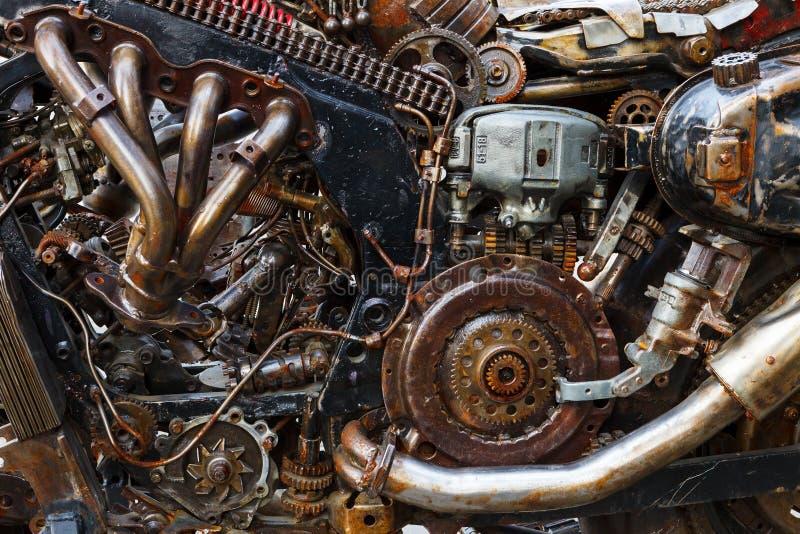 Arranjo do carro velho, oxidado das peças Mecanismo oxidado fantástico foto de stock