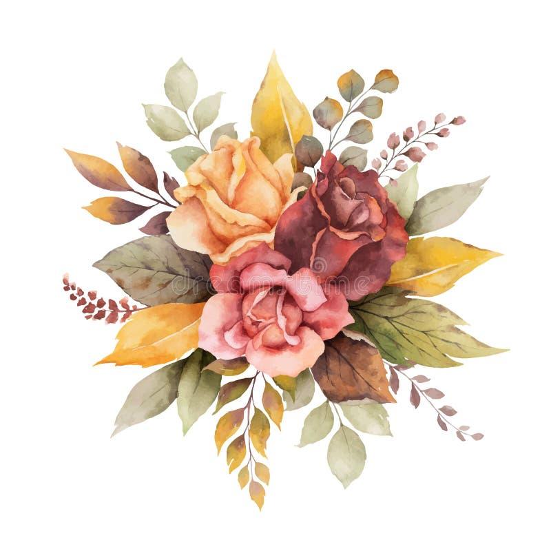 Arranjo do outono do vetor da aquarela com as rosas e as folhas isoladas no fundo branco ilustração royalty free