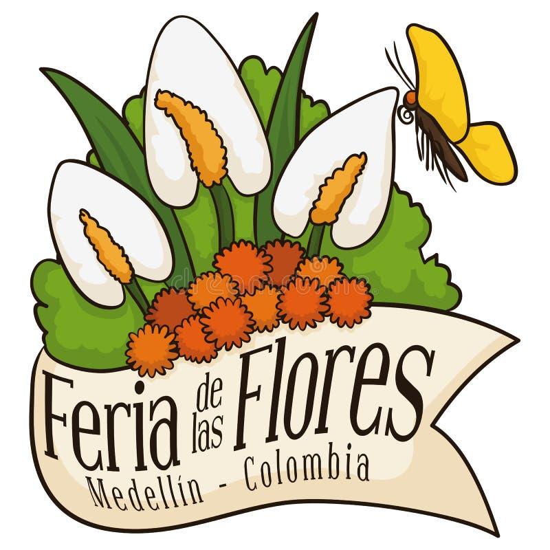 Arranjo floral bonito atrás da fita para flores colombianas festival, ilustração do vetor ilustração royalty free
