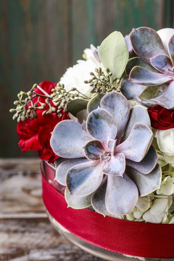 Arranjo floral com as flores brancas do hortensia, os cravos vermelhos e as plantas suculentos foto de stock