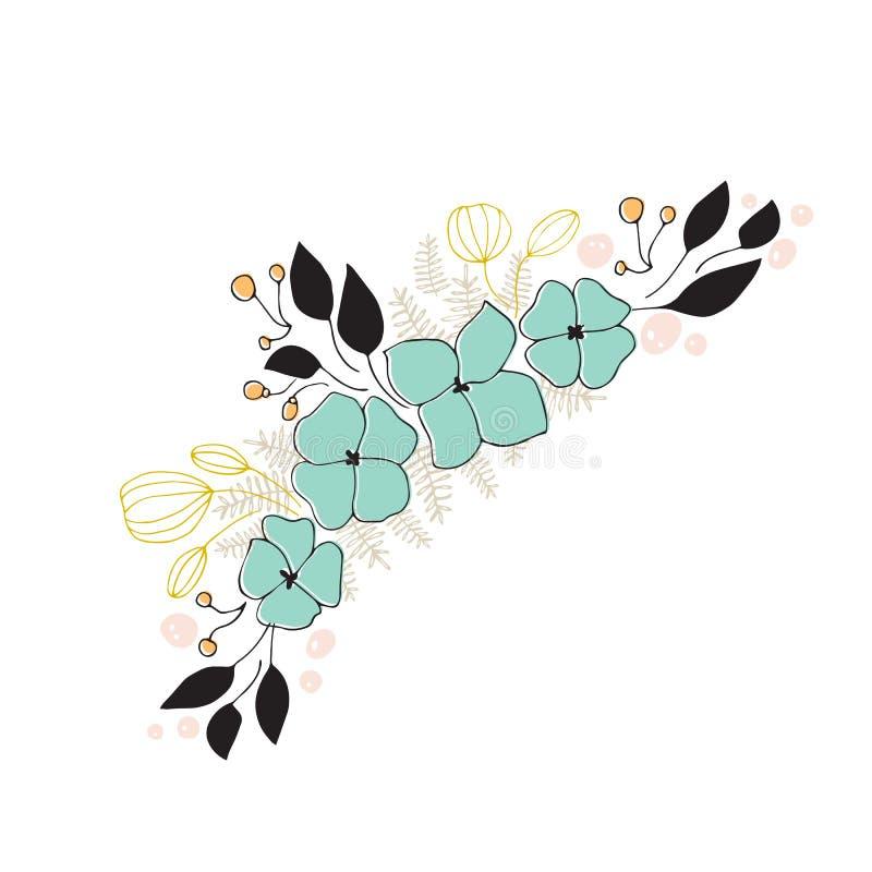Arranjo floral do mar do vetor ilustração stock