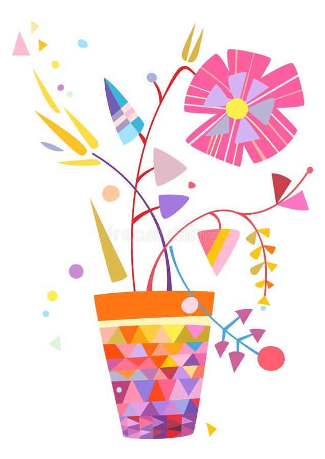 Arranjo floral no vaso ilustração do vetor