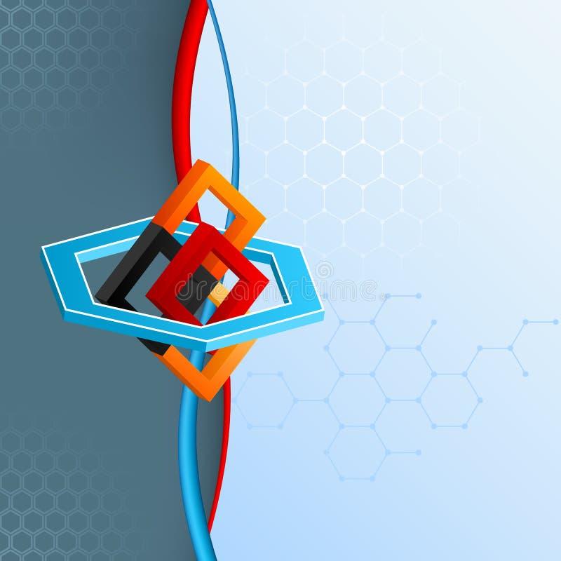 Arranjo geométrico de três dimensões com o artístico dos quadrados e dos hexágonos projetado ilustração stock