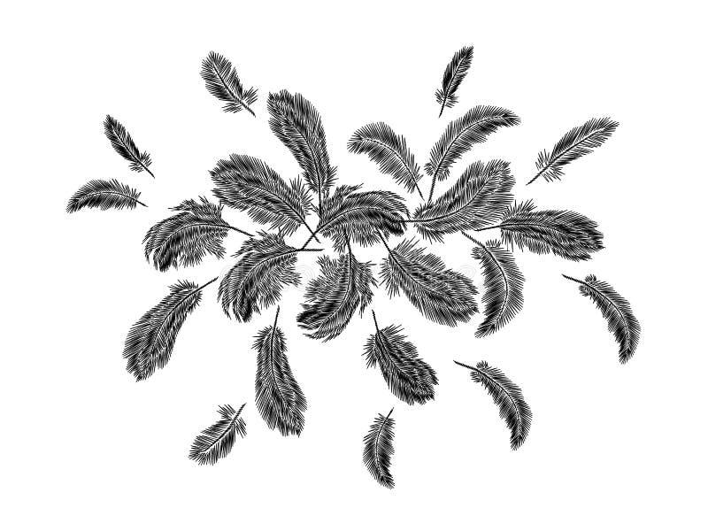 Arranjo redondo do bordado colorido das penas O clássico indiano do pássaro da roupa tribal de Boho bordou o fundo ilustração royalty free