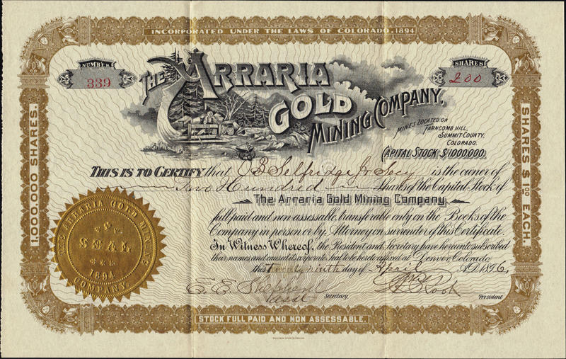 1896 The Arraria Gold Mining Company Stock Certificate. Rare Colorado document stock images
