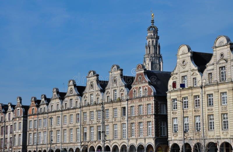 Arras, Francia Grandes fachadas del flamenco del lugar imagen de archivo libre de regalías