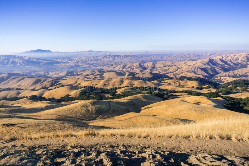 Arraste entre os montes e os vales dourados do pico da missão, da vista para o Tri vale e do Mt Diablo no por do sol foto de stock