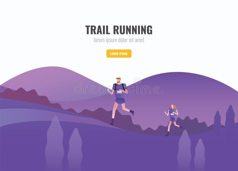Arraste o corredor dos homens e das mulheres que correm na montanha ilustração do vetor