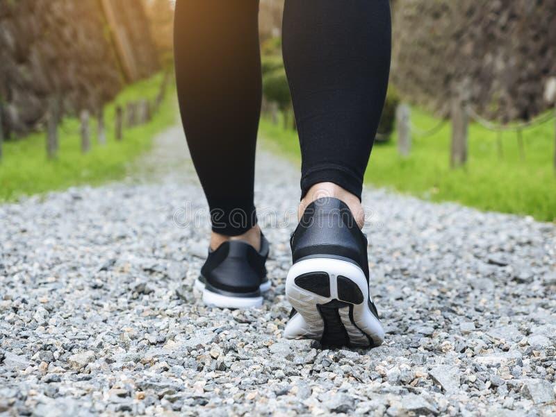 Arraste os pés de passeio da mulher com o parque de Trailt da sapata do esporte exterior imagem de stock royalty free
