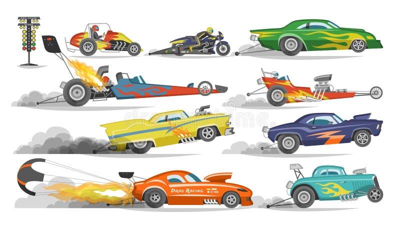 Arrasto do vetor do carro de corridas que compete em speedcar em uma trilha e em um auto bolide que conduzem no grandprix da fórm ilustração do vetor
