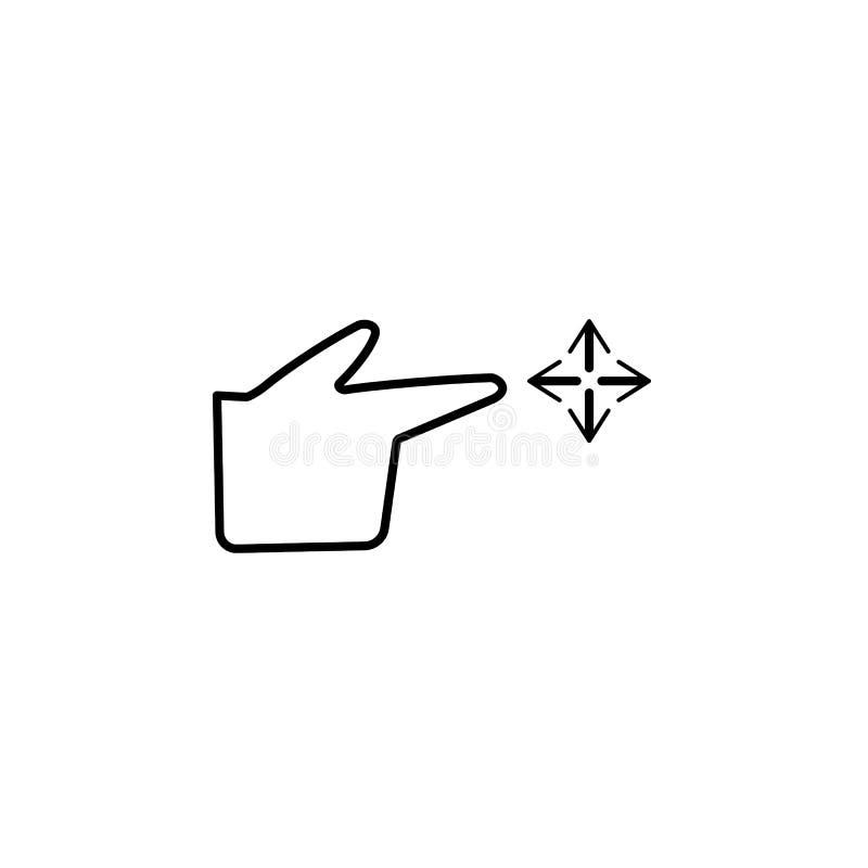 Arrasto livre, dedo, ícone do gesto Elemento do ícone da corrupção Linha fina ?cone no fundo branco ilustração royalty free