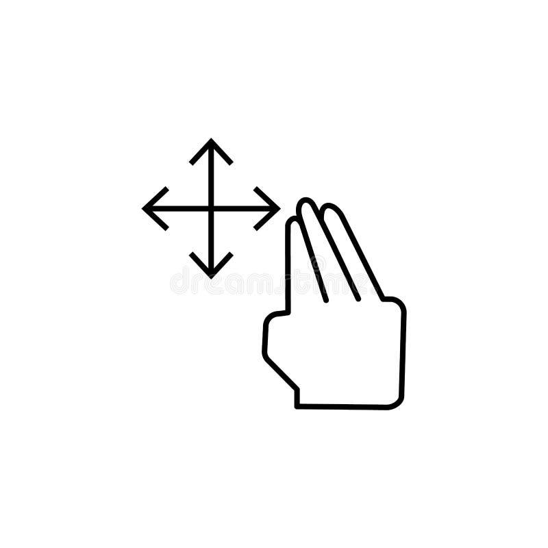 Arrasto livre, toque, ícone das mãos Elemento do ícone da corrupção Linha fina ?cone no fundo branco ilustração royalty free
