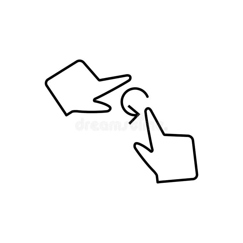 Arrasto livre, toque, ícone dos dedos Elemento do ícone da corrupção Linha fina ?cone no fundo branco ilustração stock