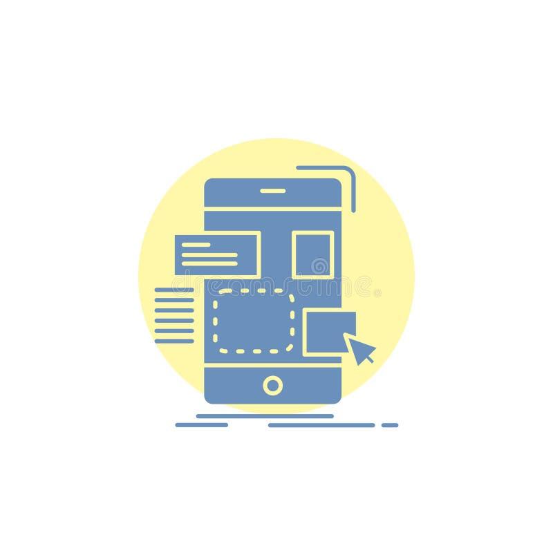 arrasto, móbil, projeto, ui, ícone do Glyph do ux ilustração do vetor