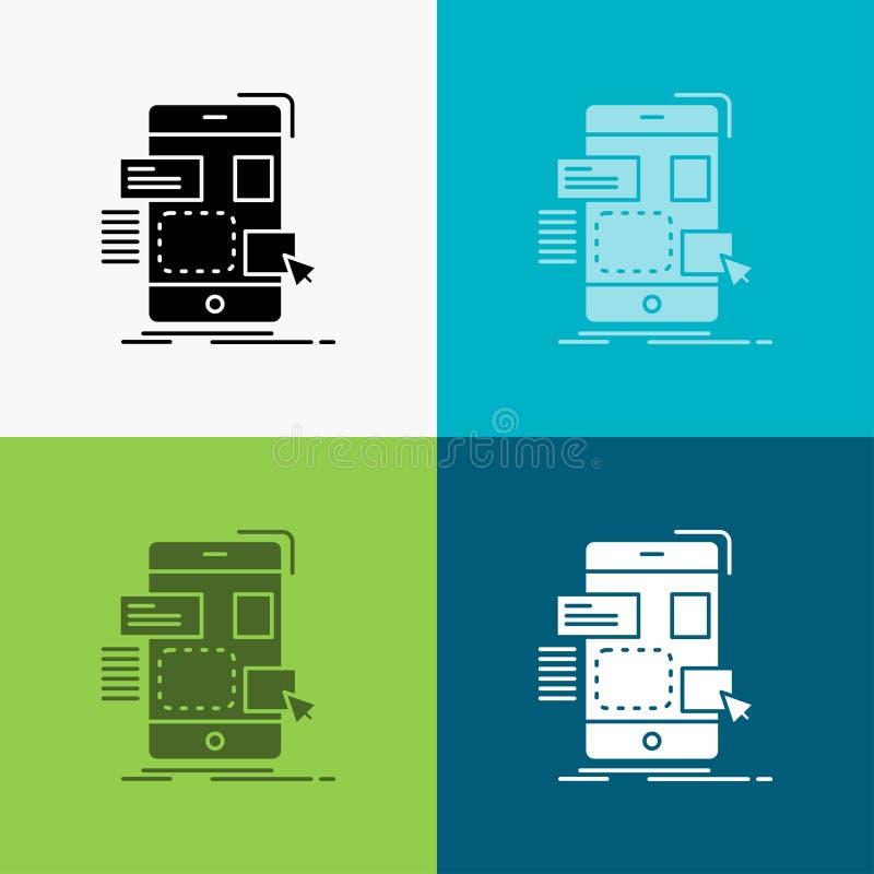 arrasto, móbil, projeto, ui, ícone do ux sobre o vário fundo projeto do estilo do glyph, projetado para a Web e o app Vetor do EP ilustração royalty free