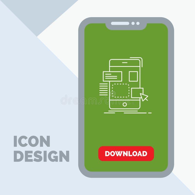 arrasto, móbil, projeto, ui, linha ícone do ux no móbil para a página da transferência ilustração stock