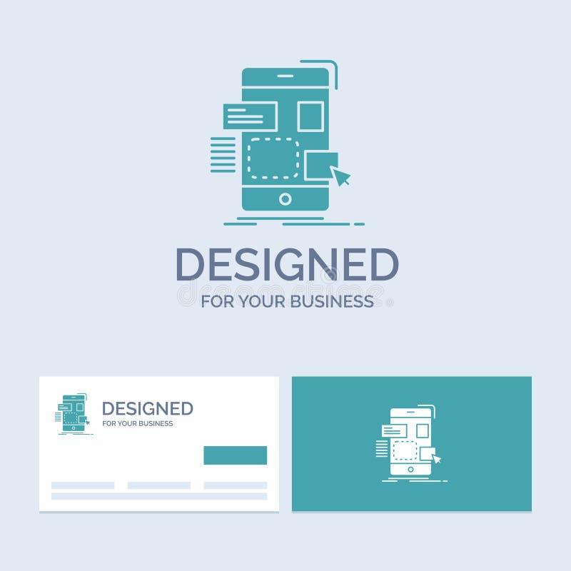 arrasto, móbil, projeto, ui, negócio Logo Glyph Icon Symbol do ux para seu negócio Cart?es de turquesa com molde do logotipo do t ilustração do vetor