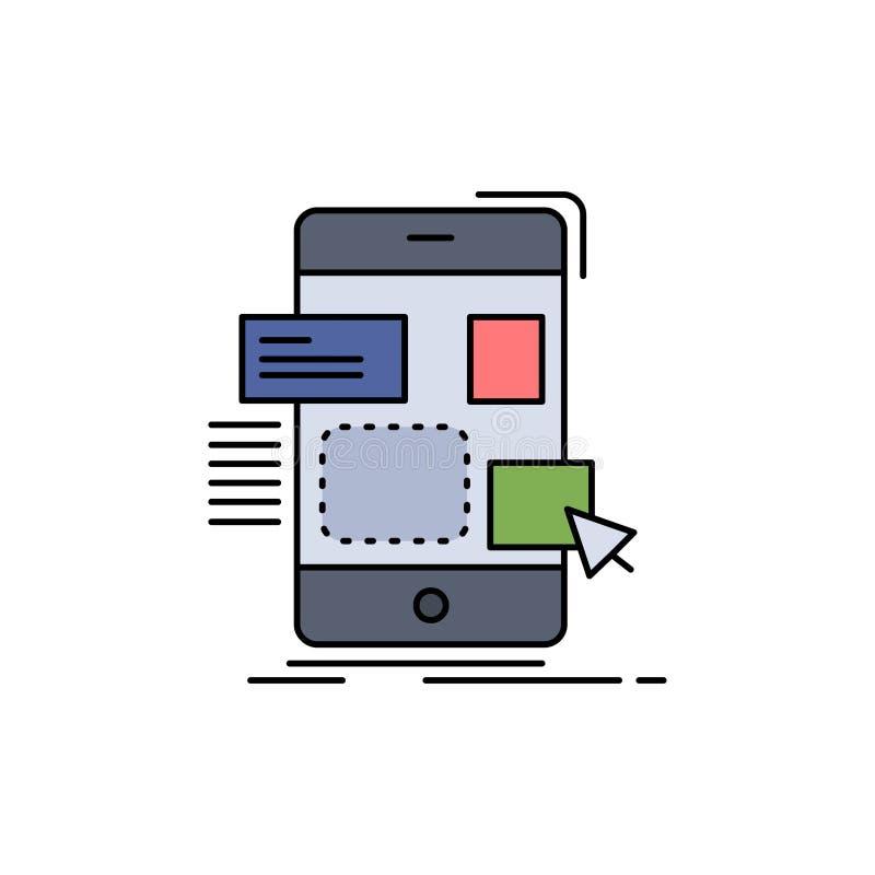 arrasto, móbil, projeto, ui, vetor liso do ícone da cor do ux ilustração royalty free