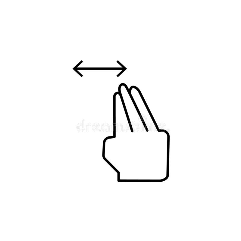 Arrasto, toque, ícone horizontal Elemento do ícone da corrupção Linha fina ?cone no fundo branco ilustração royalty free