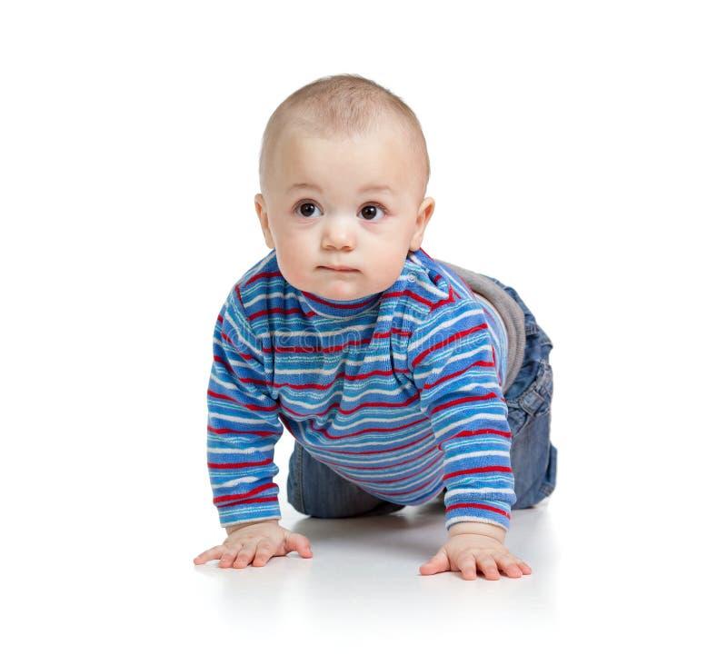Arrastre dulce del niño del niño del bebé, aislado en blanco imagen de archivo