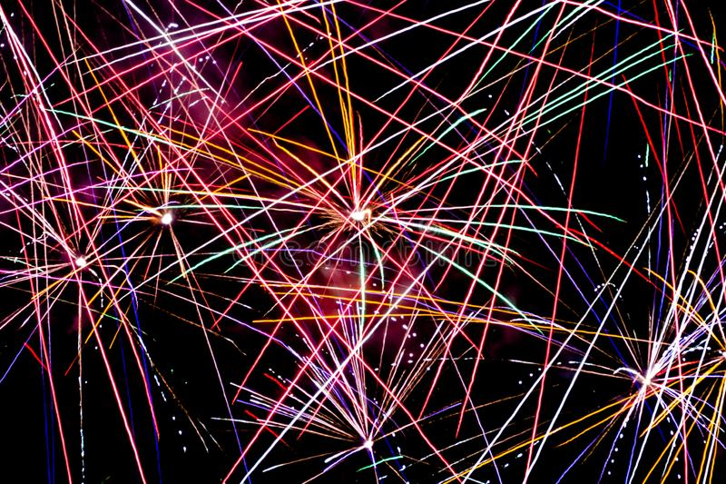 Array of Fireworks Explosions royalty free stock photo
