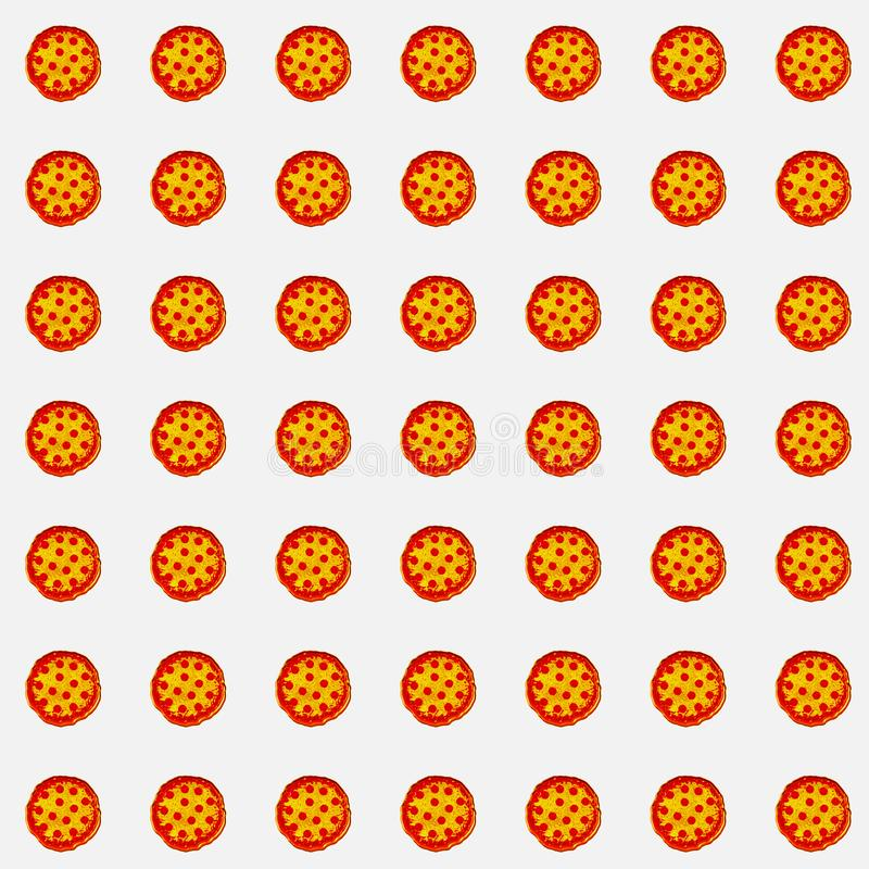 Array of pizzas on white background for gift card, product advertisement, or web graphics vector illustration