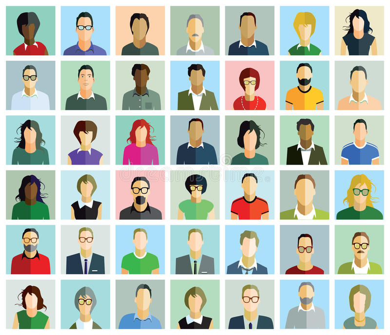 An array of portraits. An array of forty two portraits in the form of illustrations of characters in different colored clothes, different ethnicity, some with royalty free illustration