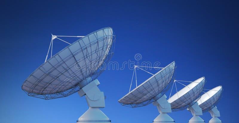 Array of satellite dishes or radio antennas against blue sky. 3D rendered illustration vector illustration