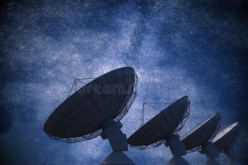Array of satellite dishes or radio antennas against night sky. Space observatory. 3D rendered illustration.  royalty free illustration