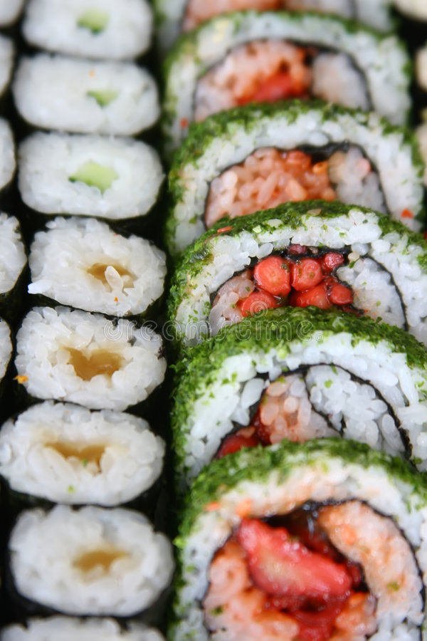 Array of sushi rolls royalty free stock photo