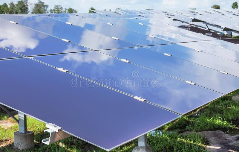 Array of  thin film solar cells or amorphous silicon solar cells or photovoltaics in solar power plant stock image