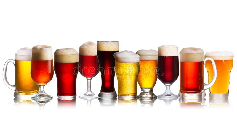 Array of various sorts of beers. Selection of various types of beer, ale. stock image