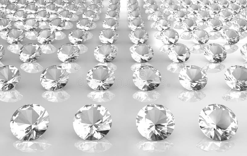 Array of white brilliant cut round diamonds royalty free stock photos