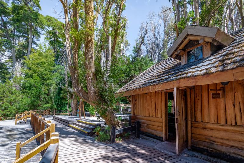 Arrayanes国家公园的-别墅La苦味液,巴塔哥尼亚,阿根廷木茶屋 免版税图库摄影
