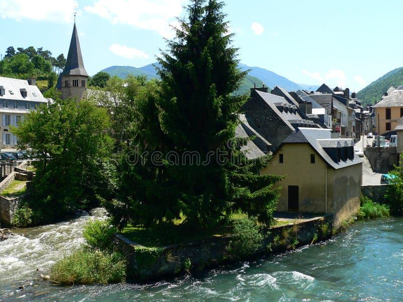 Arreau ( France ). View of Arreau town, Hautes Pyrénées (France stock photography