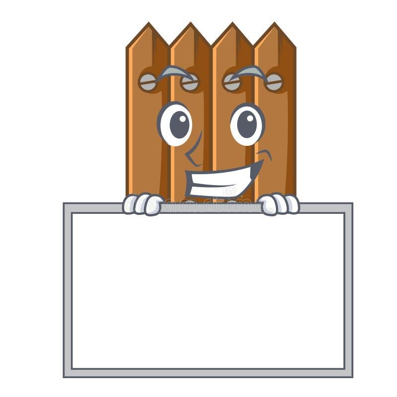 Arreganho com a cerca de madeira do marrom da placa isolada no caráter ilustração do vetor