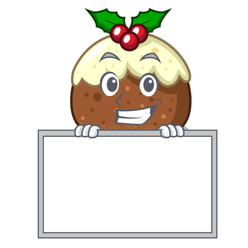 Arreganho com desenhos animados do caráter do bolo do fruto da placa ilustração stock