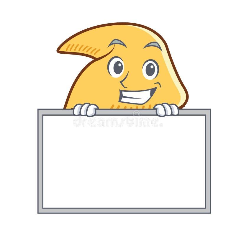 Arreganho com desenhos animados do caráter da cookie de fortuna da placa ilustração stock