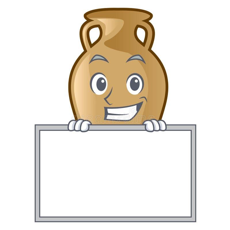 Arreganho com estilo dos desenhos animados do caráter da ânfora da placa ilustração stock