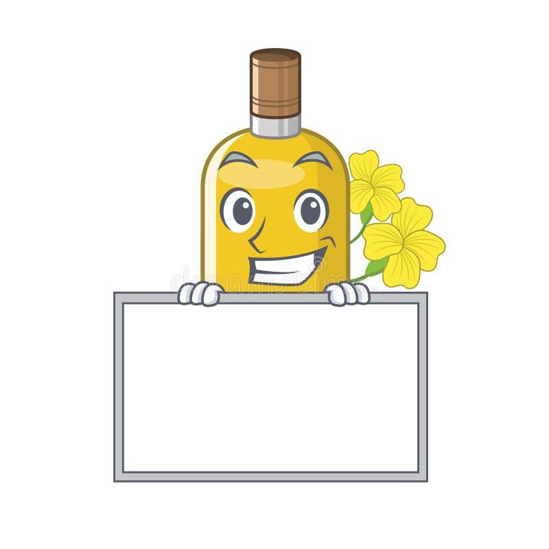 Arreganho com o óleo do canola da placa isolado com os desenhos animados ilustração stock
