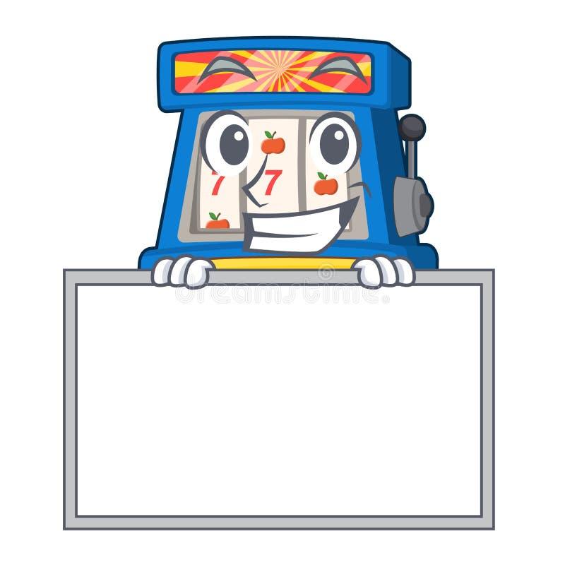 Arreganho com o slot machine da placa na forma da mascote ilustração do vetor