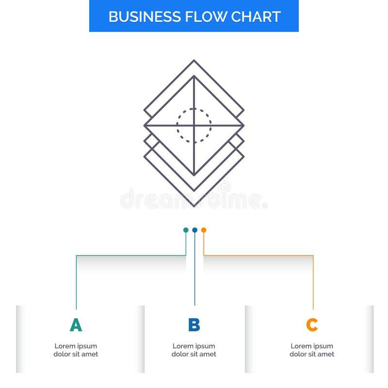 Arregle, diseñe, las capas, pila, diseño del organigrama del negocio de la capa con 3 pasos L?nea icono para la plantilla del fon libre illustration