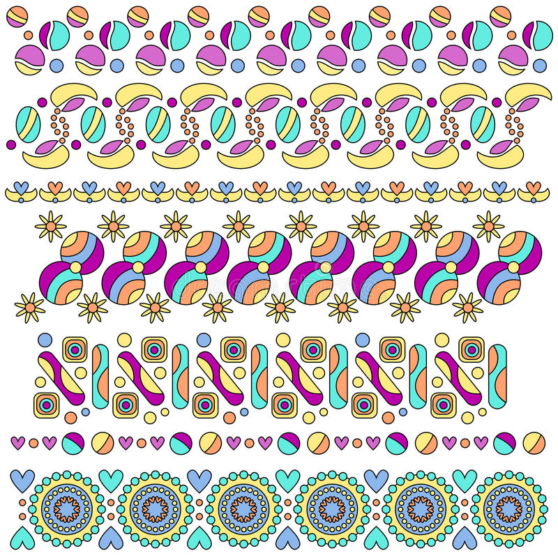 Arregle la colección con los corazones, las flores y los puntos ilustración del vector